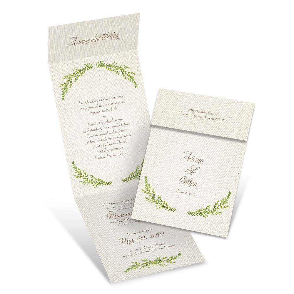 Wedding Invitations Online.Leaves And Linen Invitation With Online Reply Ann S Bridal Bargains