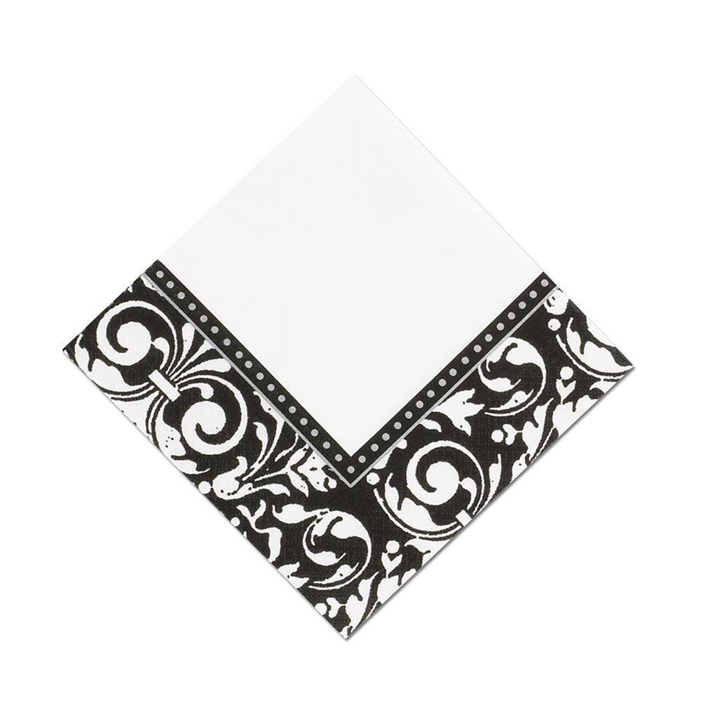 Black Cocktail Napkins : Damask frame cocktail napkin ann s bridal bargains