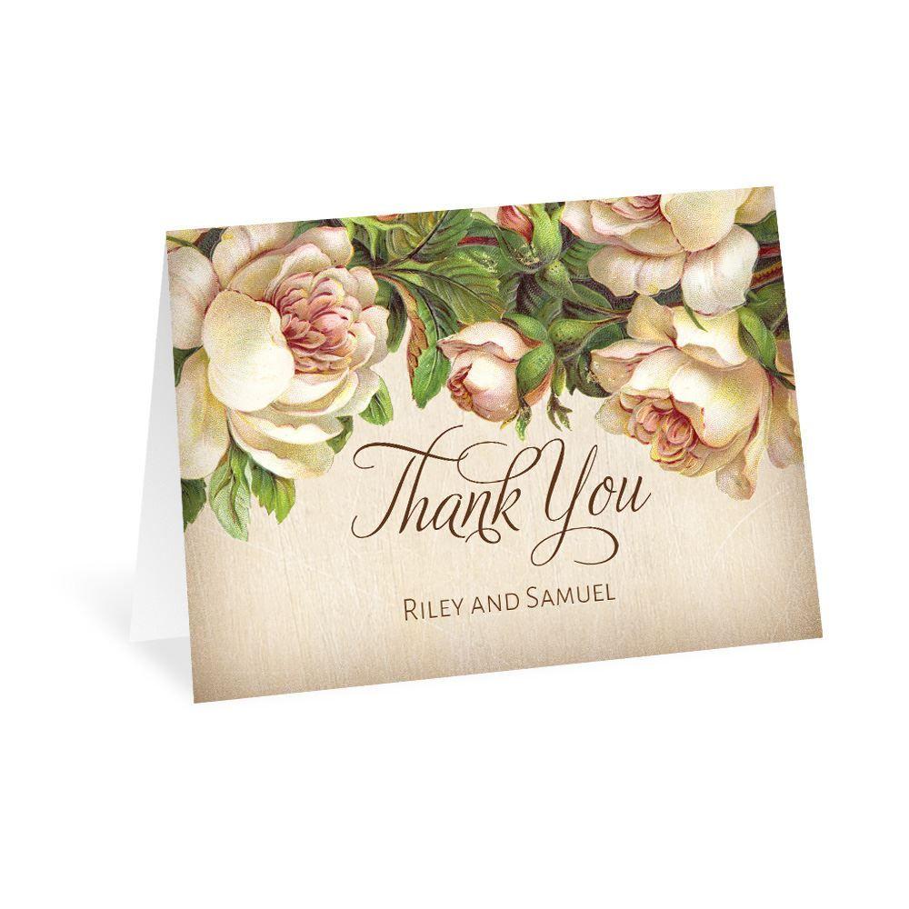 Antique Rose Thank You Card | Ann\'s Bridal Bargains