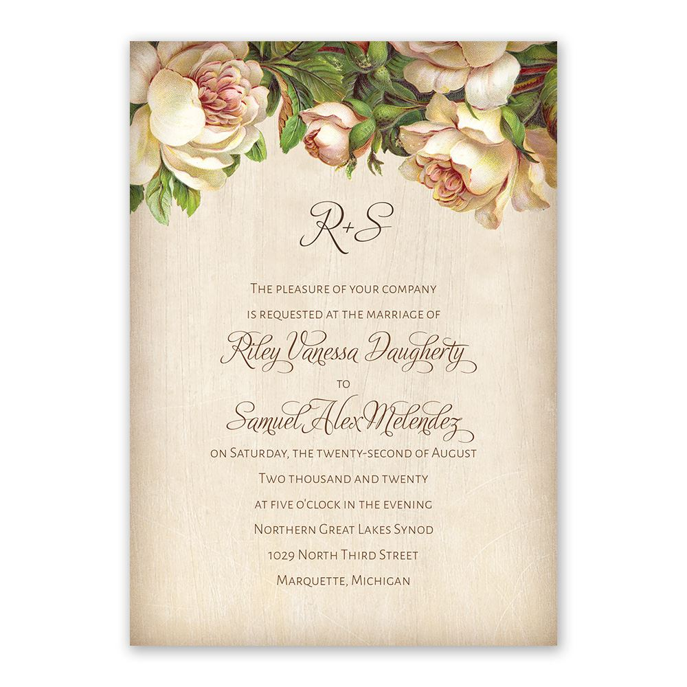 Wedding Invitation Postcard: Antique Rose Invitation With Free Response Postcard