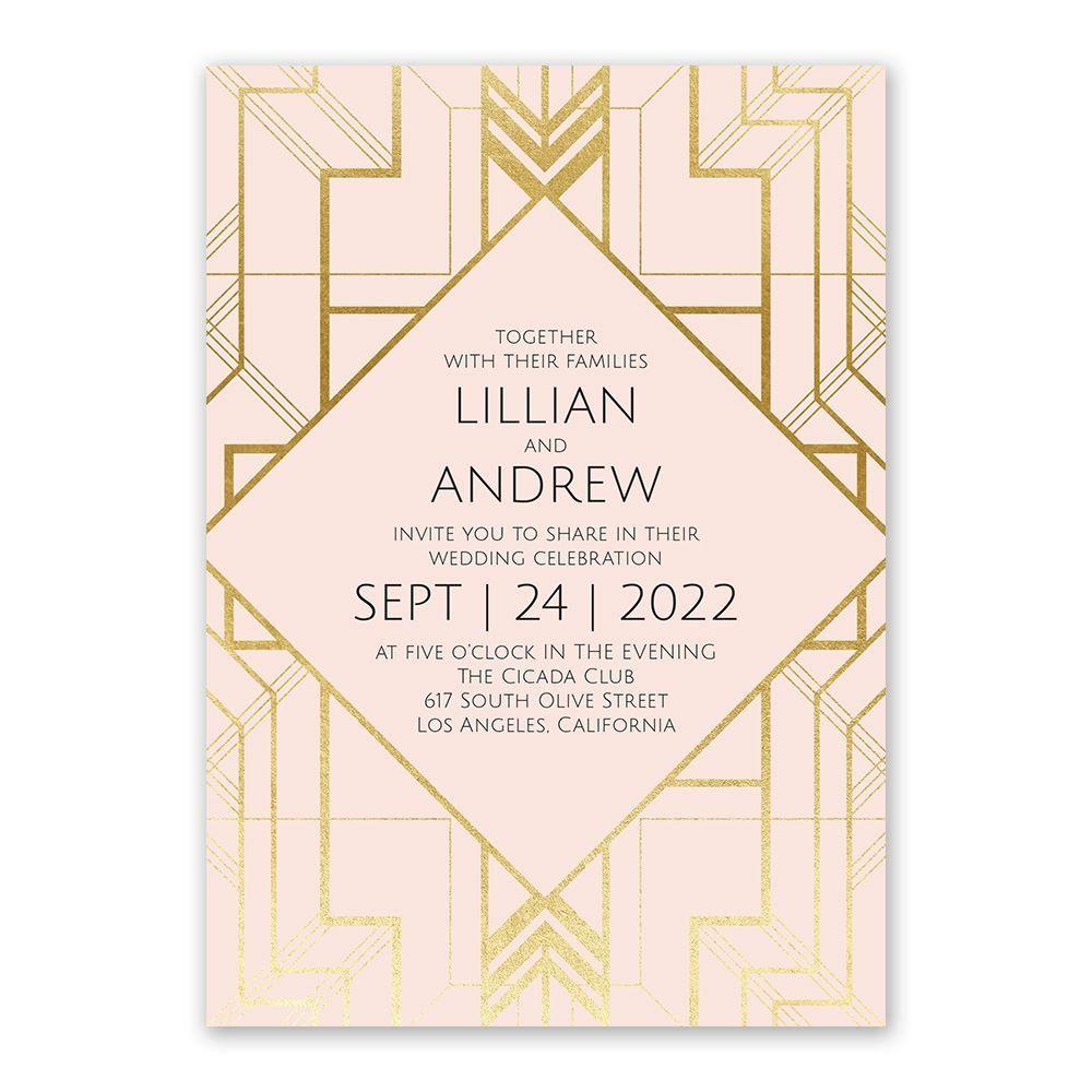art deco shine invitation with free respond postcard ann s bridal