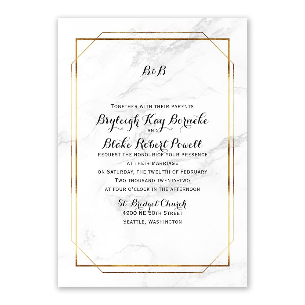 Marble Frame Invitation With Free Response Postcard Ann