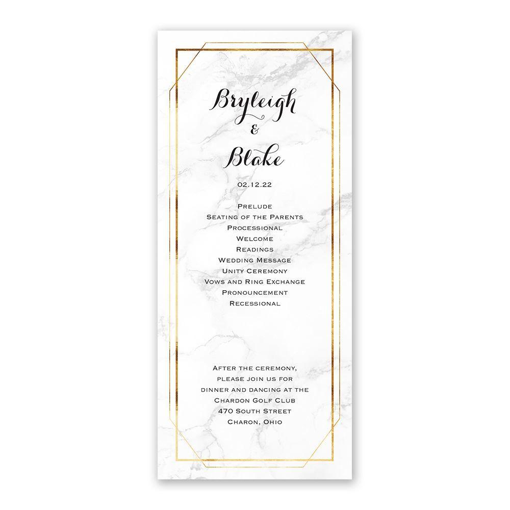Marble Frame Wedding Program