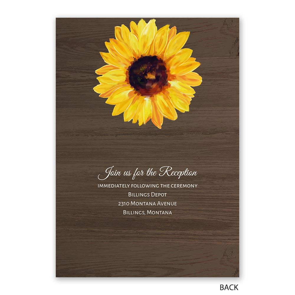 Country Sunflowers Invitation With Free Response Postcard