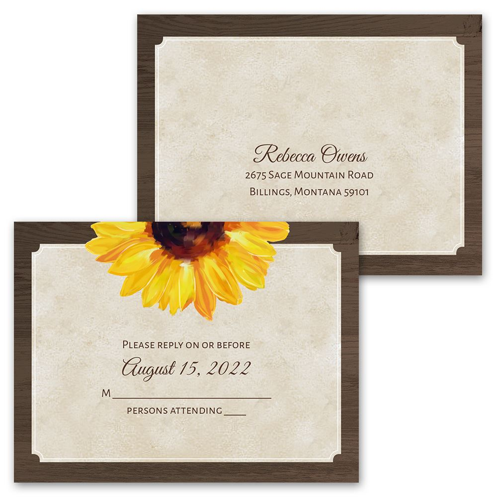 Cost Of Mailing Wedding Invitations: Country Sunflowers Invitation With Free Response Postcard