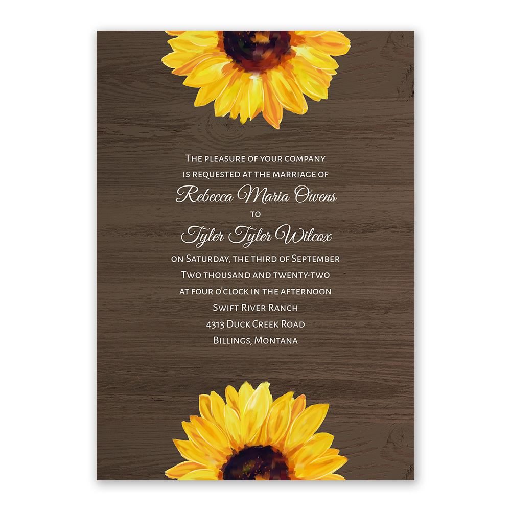 country sunflowers invitation with free response postcard ann s