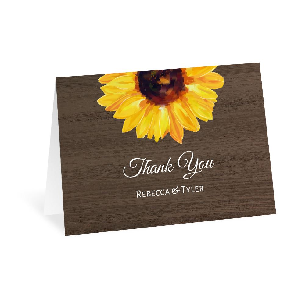 Country Sunflowers Thank You Card Ann S Bridal Bargains