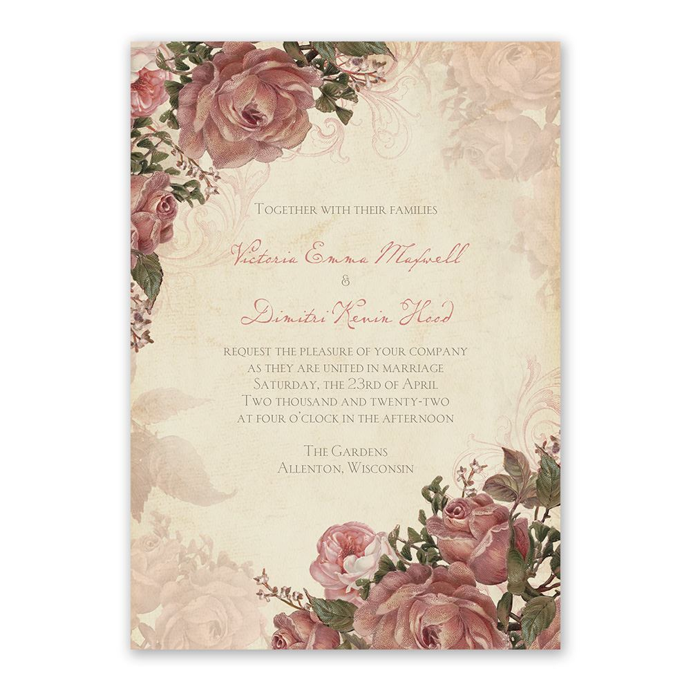 Wedding Invitation Postcard: Vintage Roses Invitation With Free Response Postcard