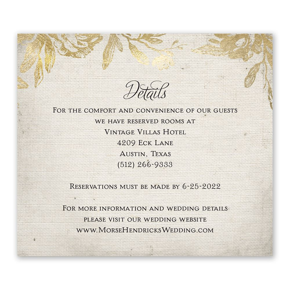 Wedding And Reception Invitations: Rustic Glam Information Card