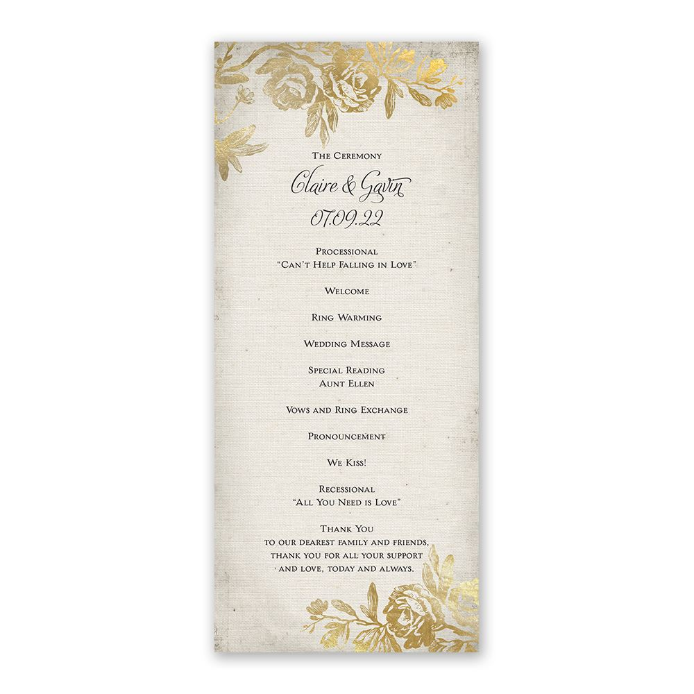 rustic glam wedding program ann s bridal bargains