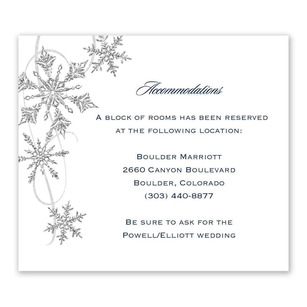 Reception Following Ceremony Wording: Snowflake Sparkle Information Card