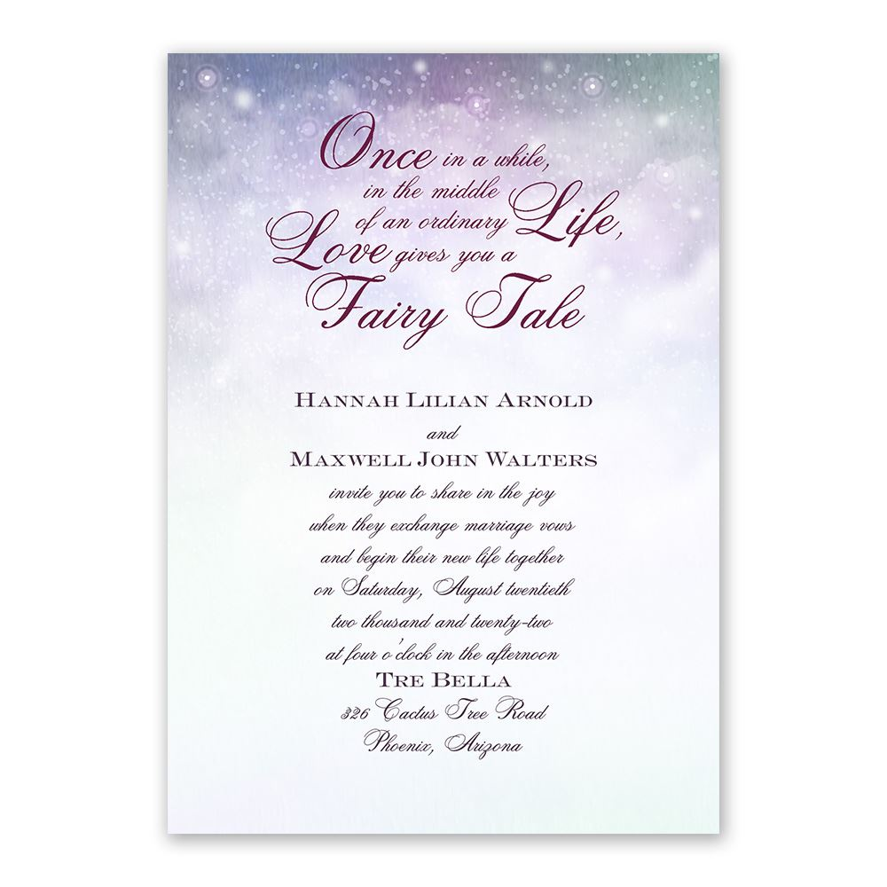 Our Fairy Tale Invitation with Free Response Postcard Anns Bridal
