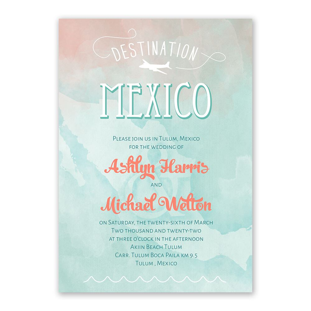 Wedding Invitation Postcard: Destination Mexico Wedding Invitation