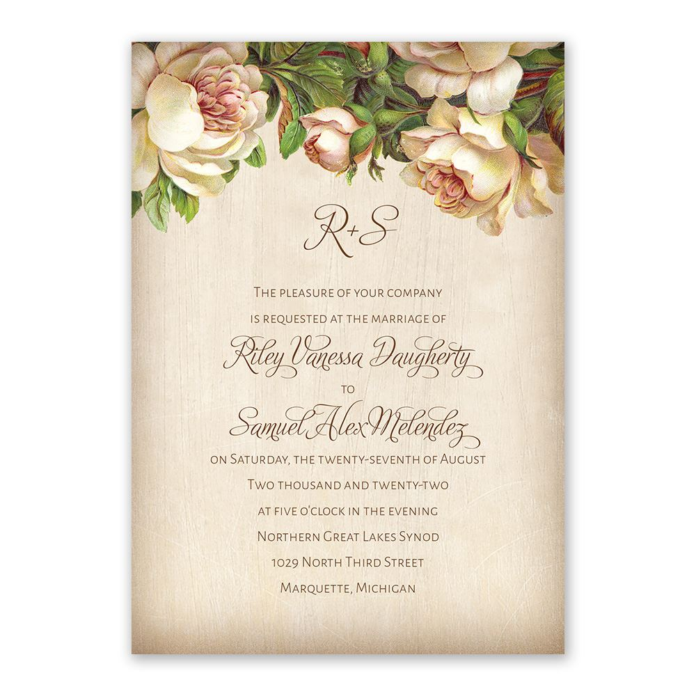 Antique Rose Invitation with Free Response Postcard | Ann\'s Bridal ...