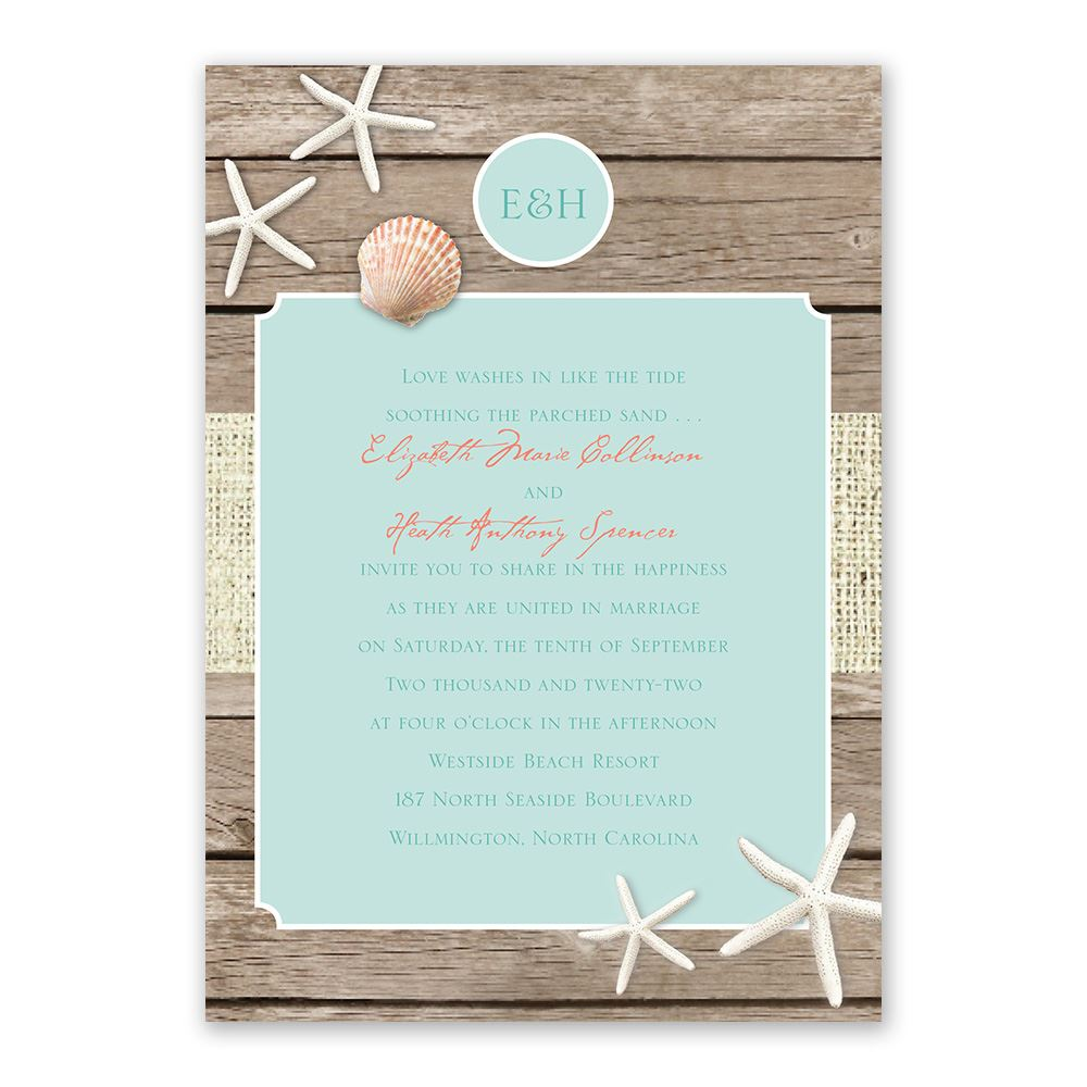 Wedding Invitation Postcard: Beach Retreat Invitation With Free Response Postcard