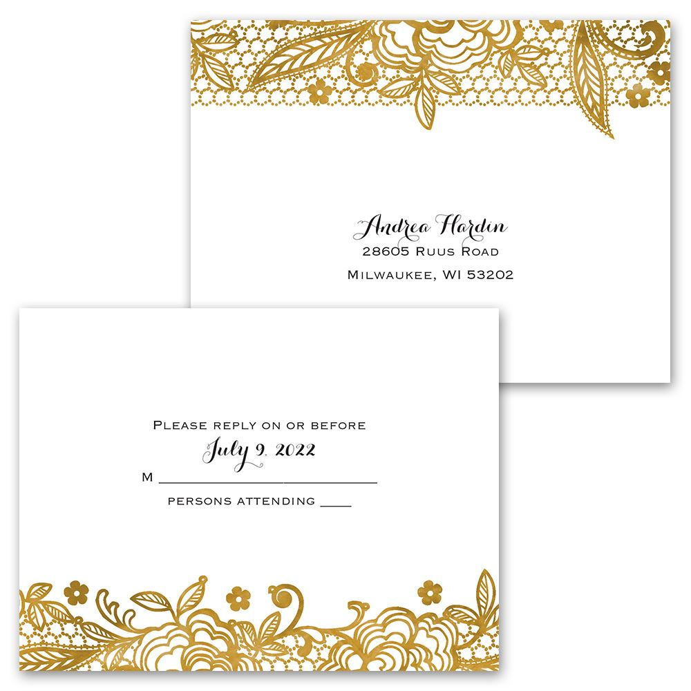 Cost Of Mailing Wedding Invitations: Gold Lace Invitation With Free Response Postcard