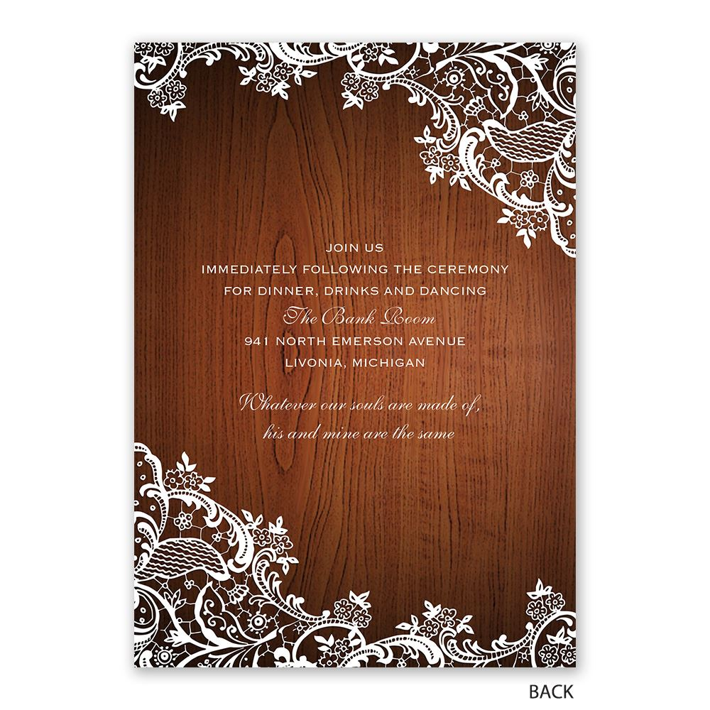 Lace Corners Invitation with Free Response Postcard | Ann ...