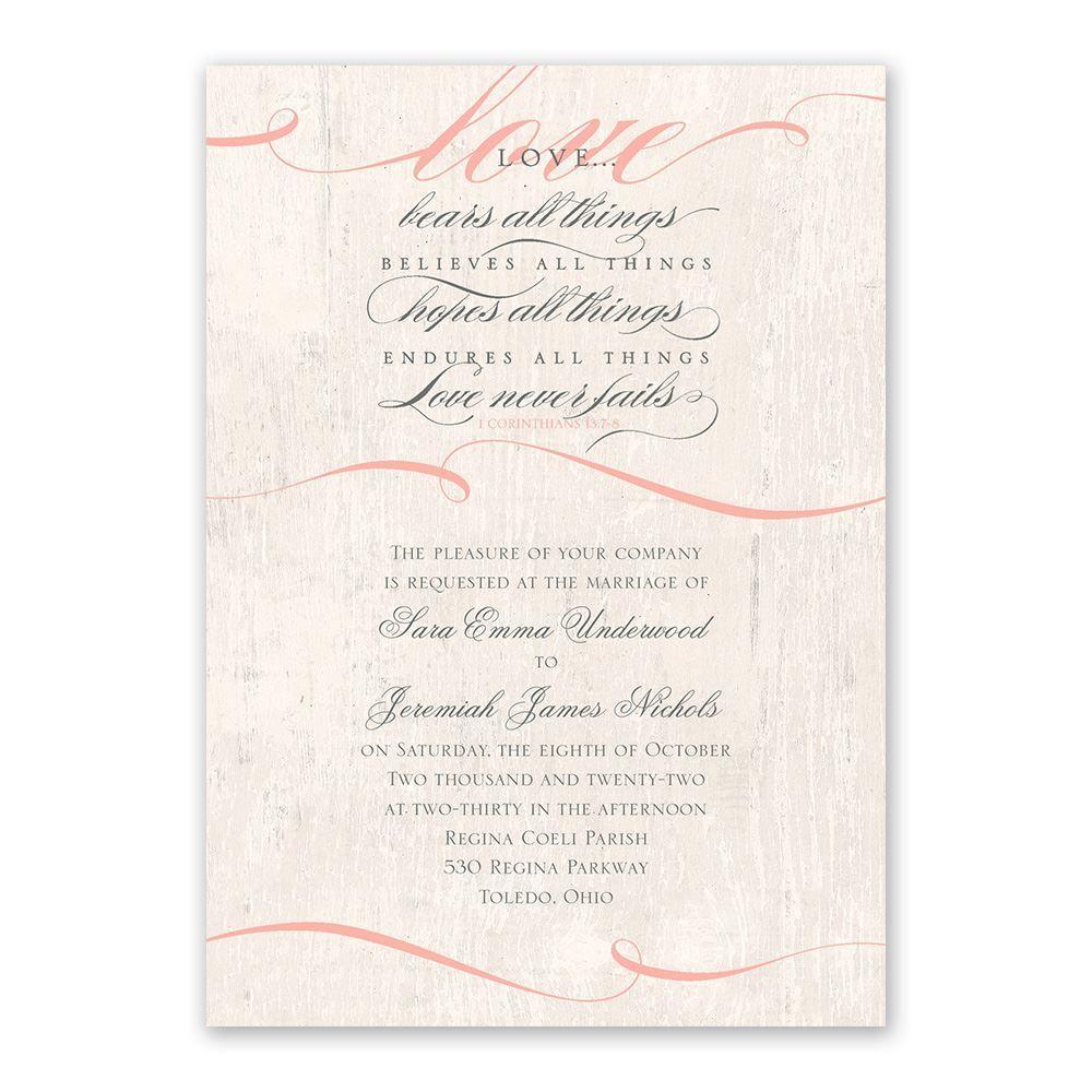 1 Corinthians 13 Wedding Invitations: Love Endures Invitation With Free Response Postcard