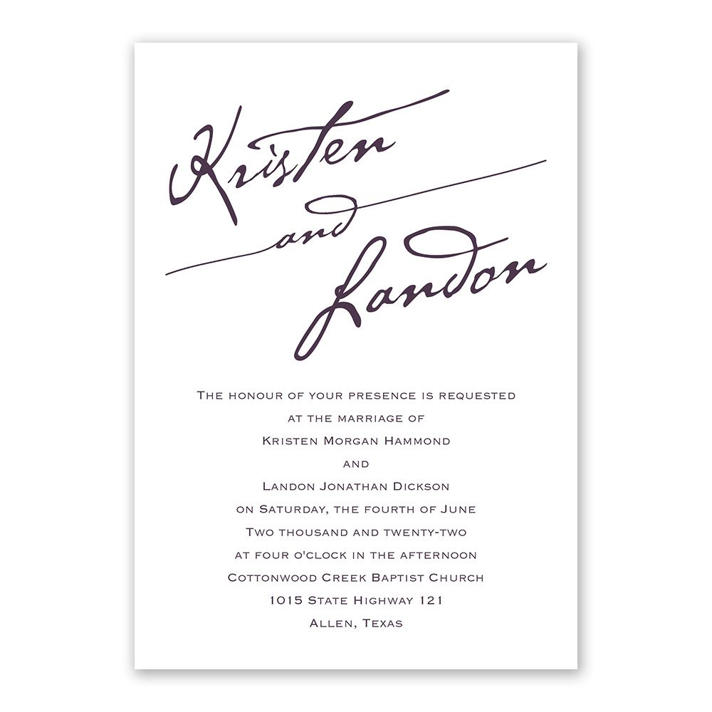 elegant script invitation with free response postcard