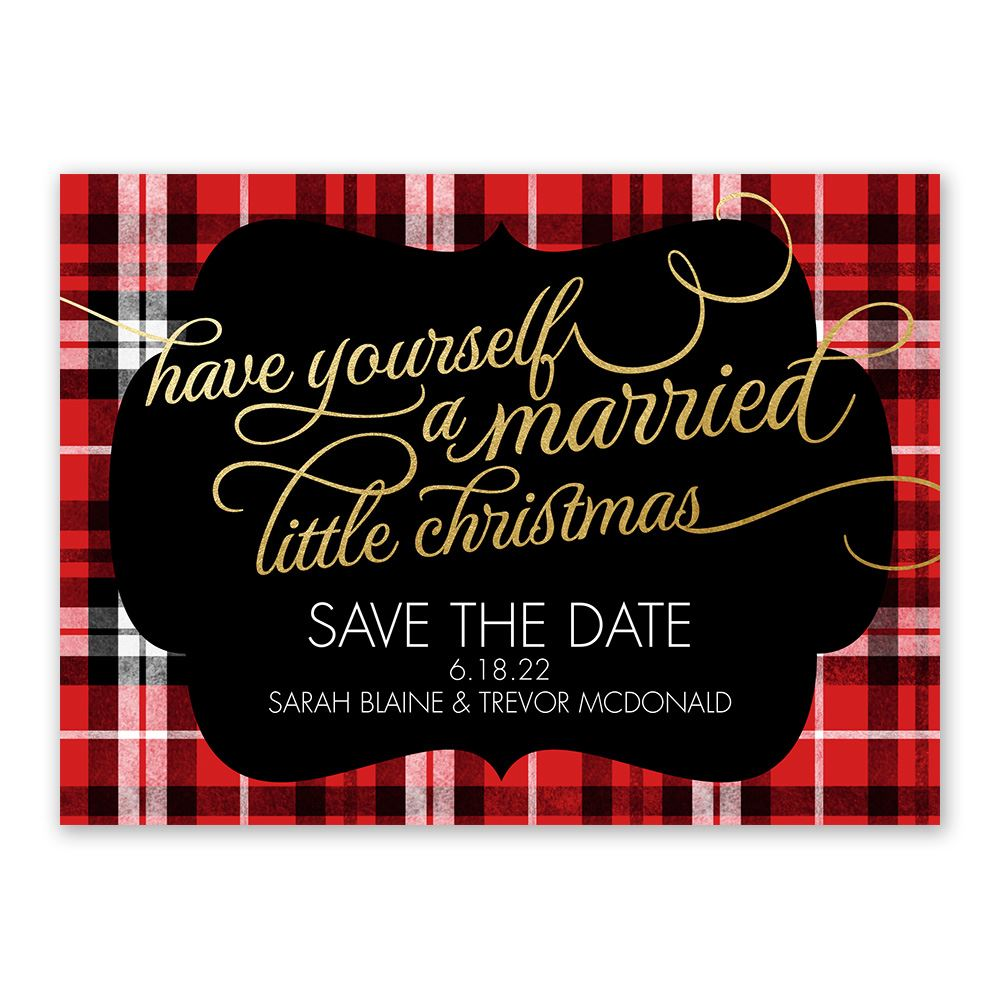 Christmas Plaid Holiday Card Save The Date