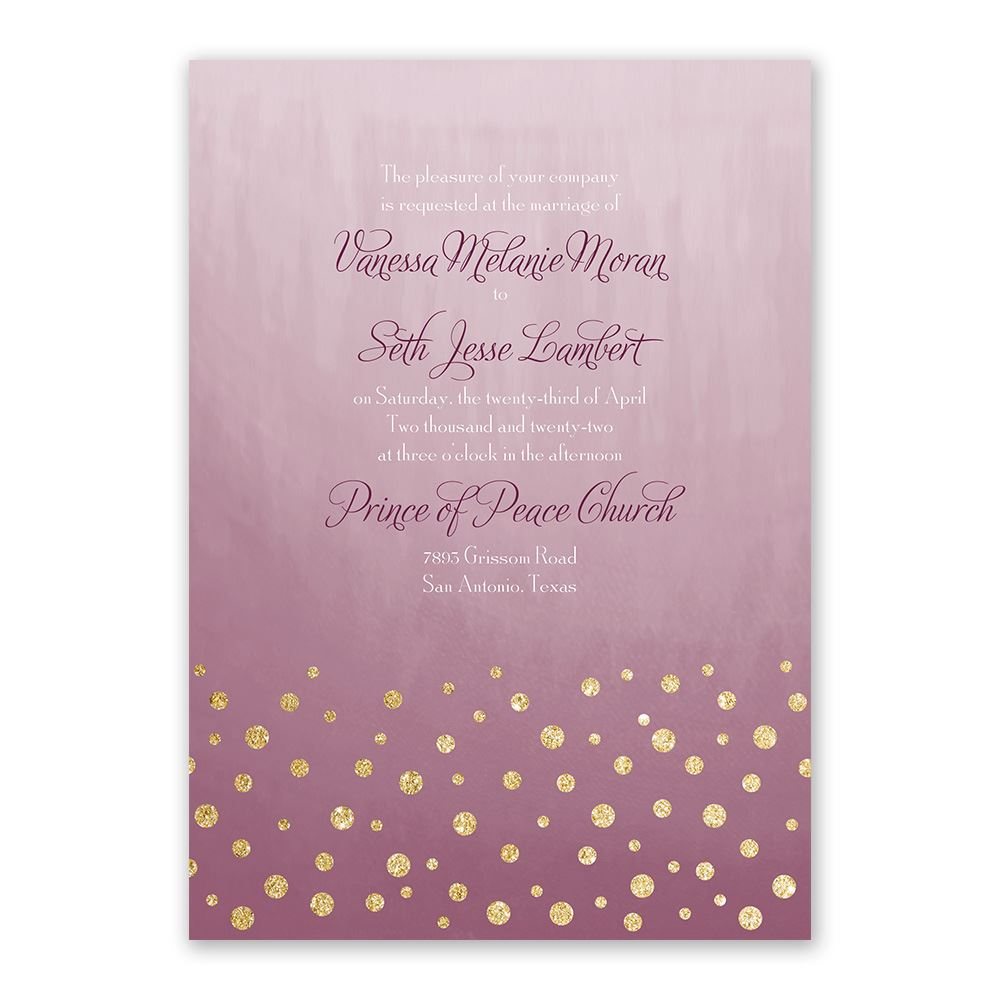 Gold Dust Faux Glitter Invitation With Free Response
