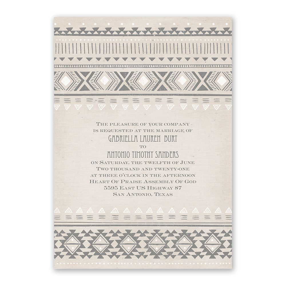 Aztec Style Invitation With Free Response Postcard