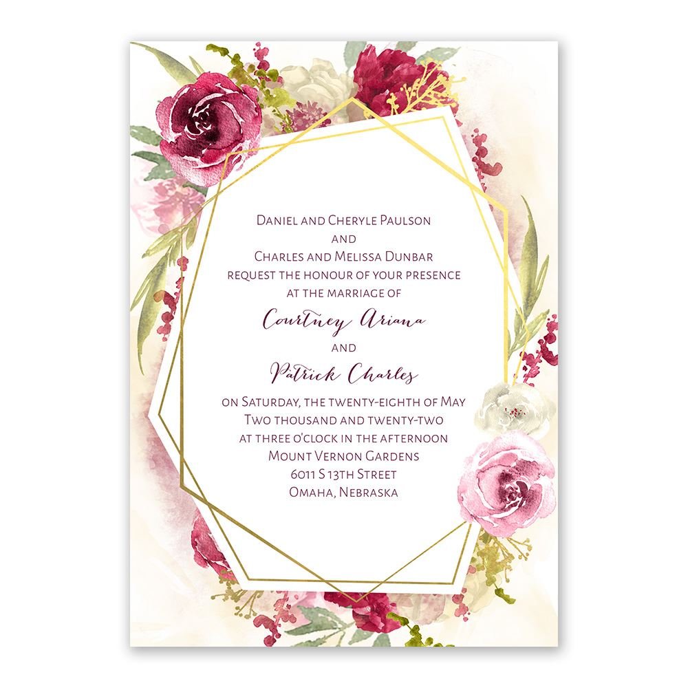 Wedding Invitation Postcard: Geo Rose Invitation With Free Response Postcard