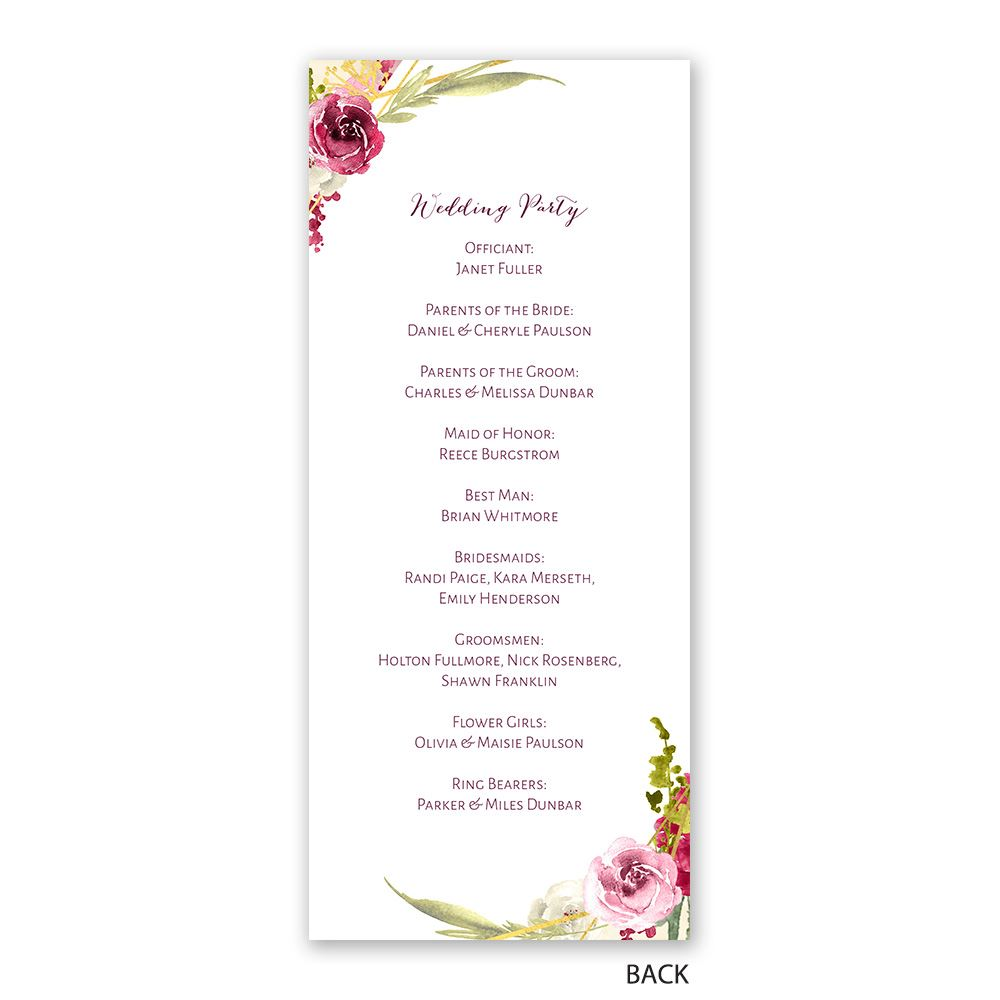 geo rose wedding program ann s bridal bargains