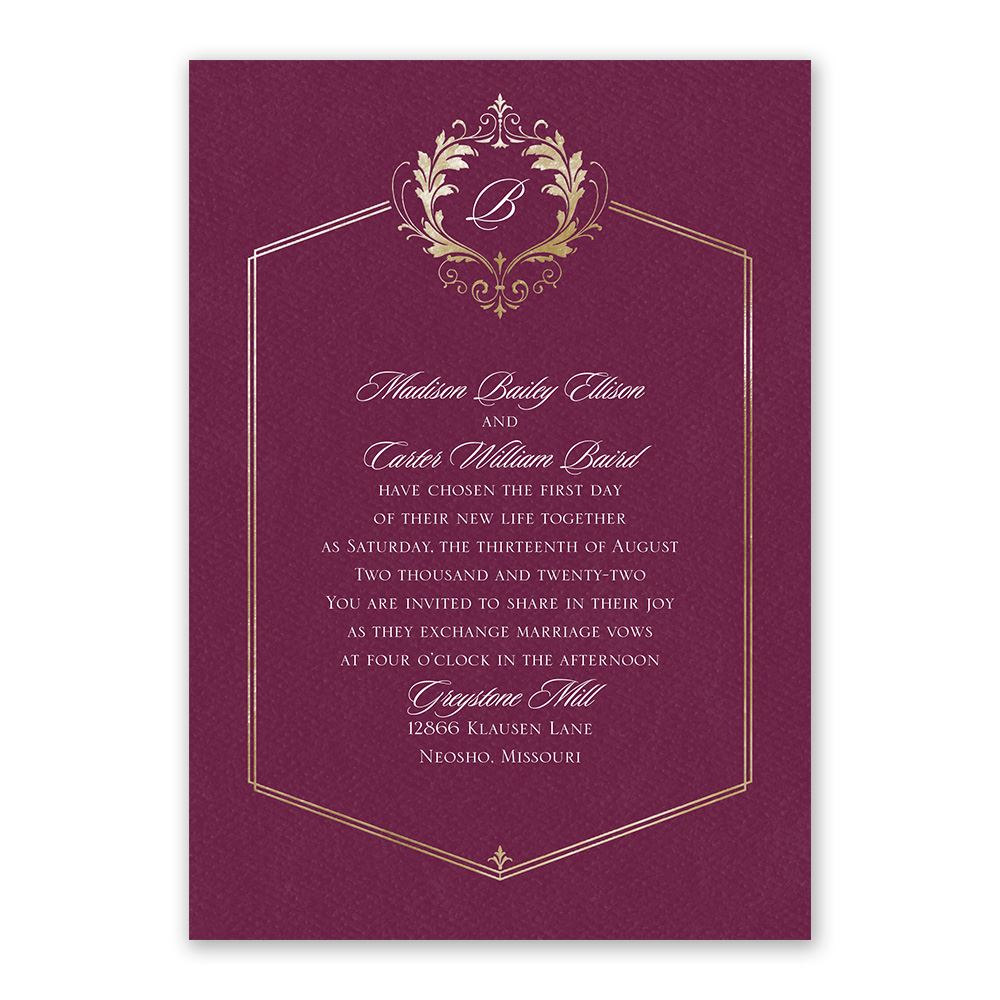 royal monogram invitation