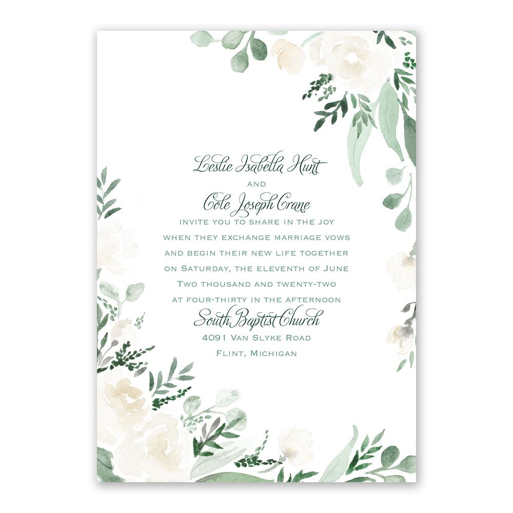 Wedding Invitation Postcard: Painted Garden Wedding Invitation
