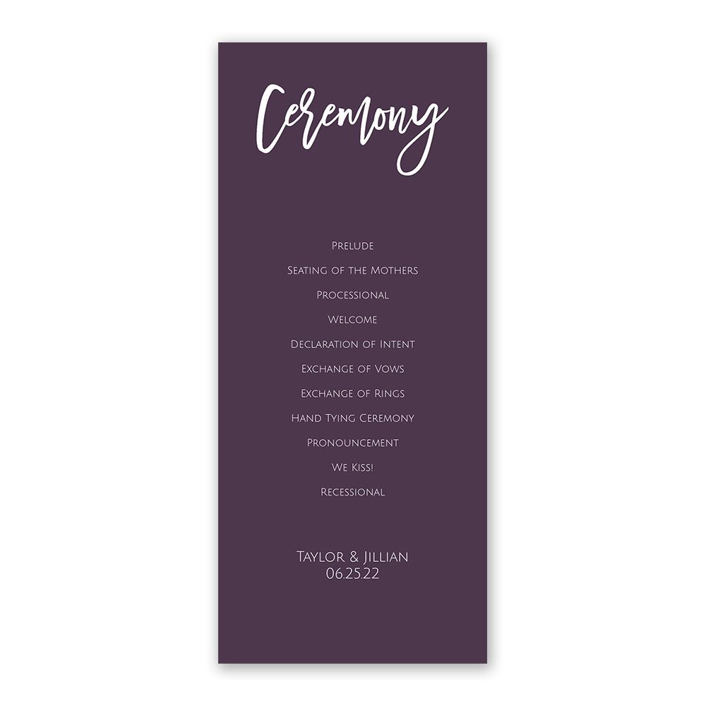 Wedding Ceremony Programs.A Simple Ceremony Wedding Program Ann S Bridal Bargains