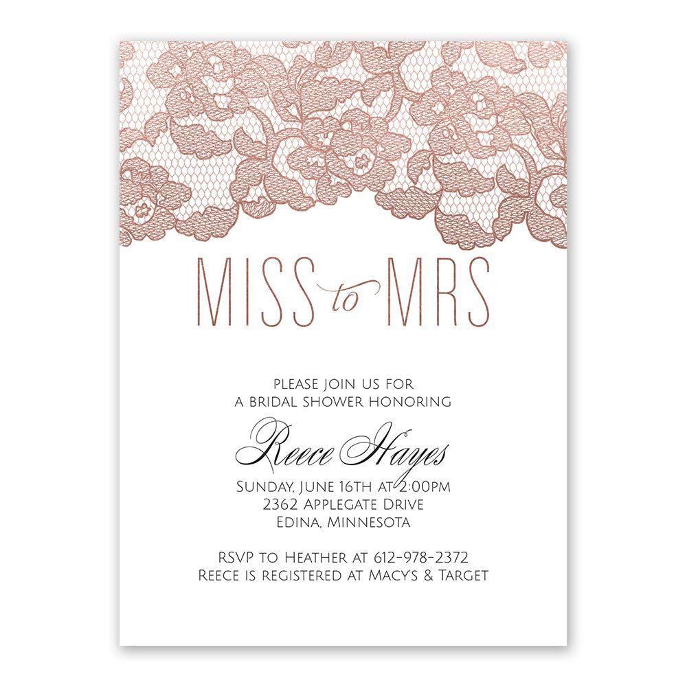 Rose Gold Lace Bridal Shower Invitation