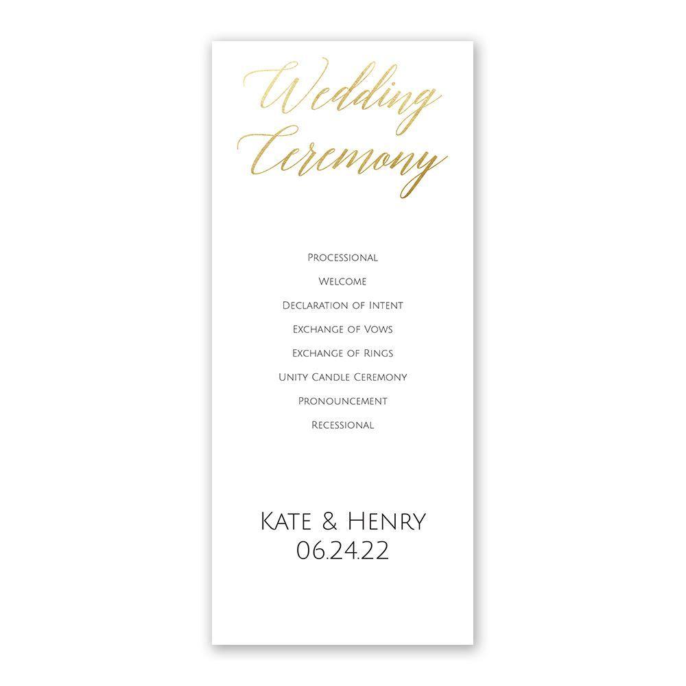 Foil Wedding Invitations.Gold Faux Foil Wedding Program Ann S Bridal Bargains