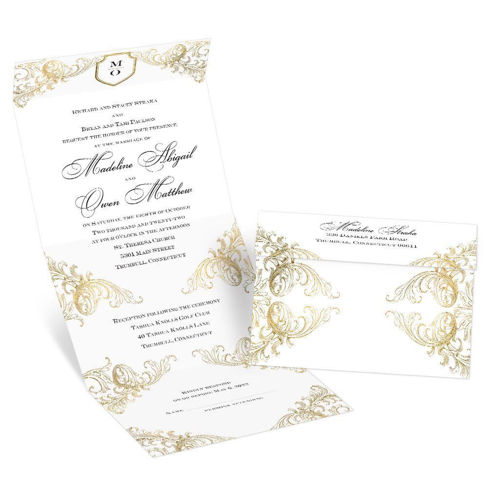 When Should Wedding Invites Be Sent: Gold Flourish Seal And Send Invitation