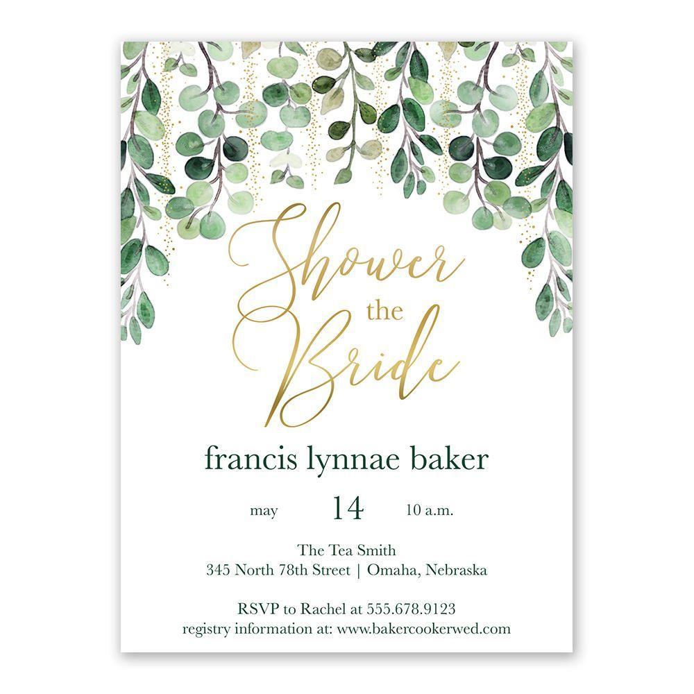 Wedding Shower Invites.Glam Greens Bridal Shower Invitation Ann S Bridal Bargains