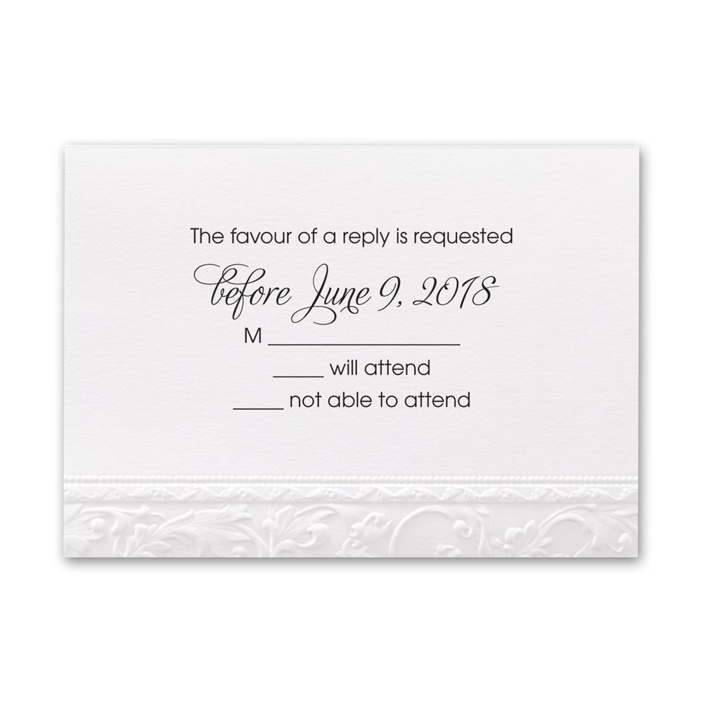 Wedding Invitation Response Cards: Elegant Filigree Response Card And Envelope