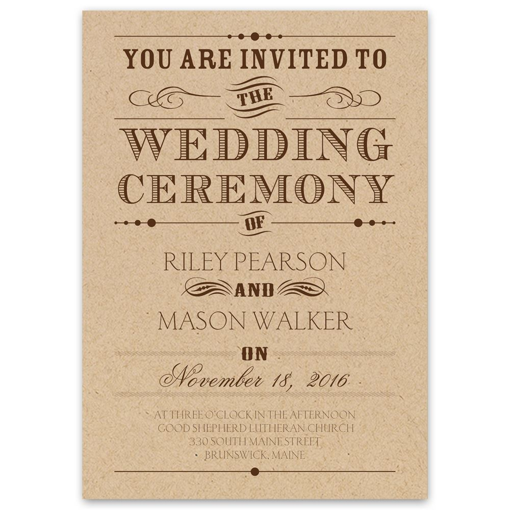 Typography on Kraft Invitation | Ann\'s Bridal Bargains