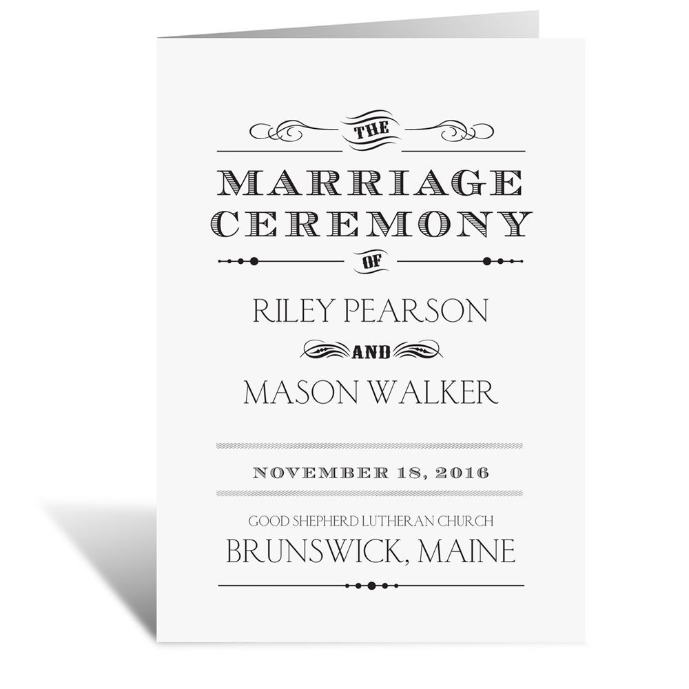 Typography On White Wedding Program