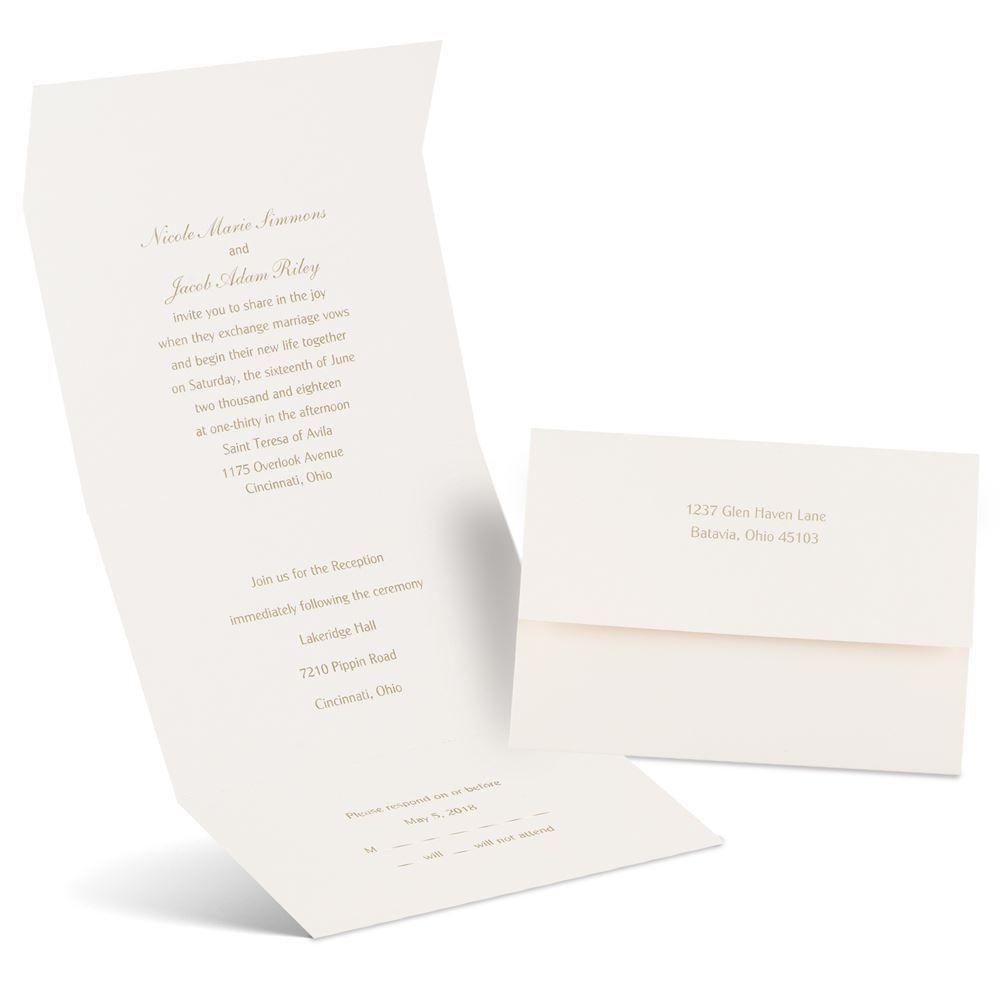 Cheap Send And Seal Wedding Invitations: Classic Romance Seal And Send Invitation