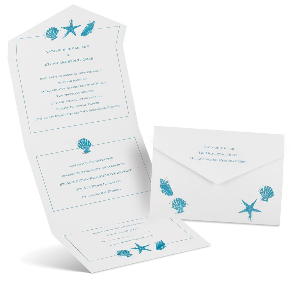 Seal And Send Wedding Invitations.Starfish And Seashells Seal And Send Invitation