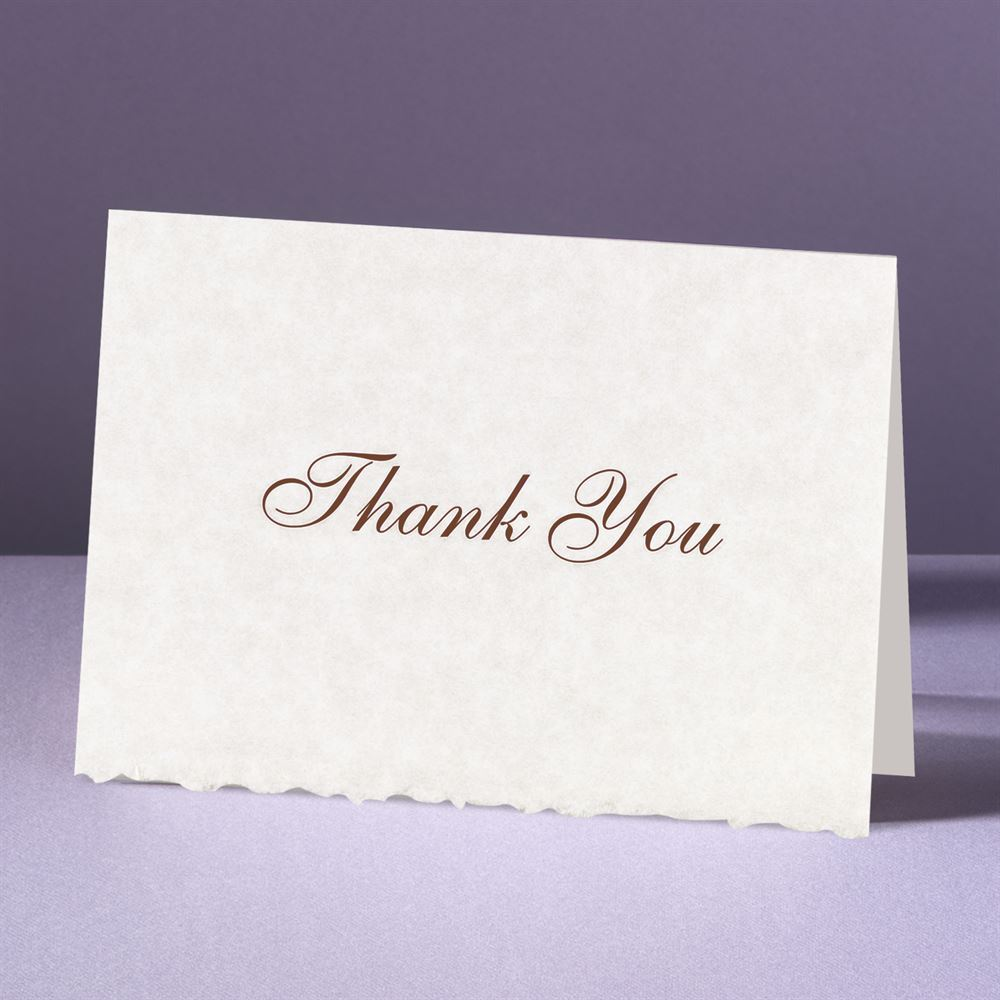 parchment deckle thank you card and envelope  ann's