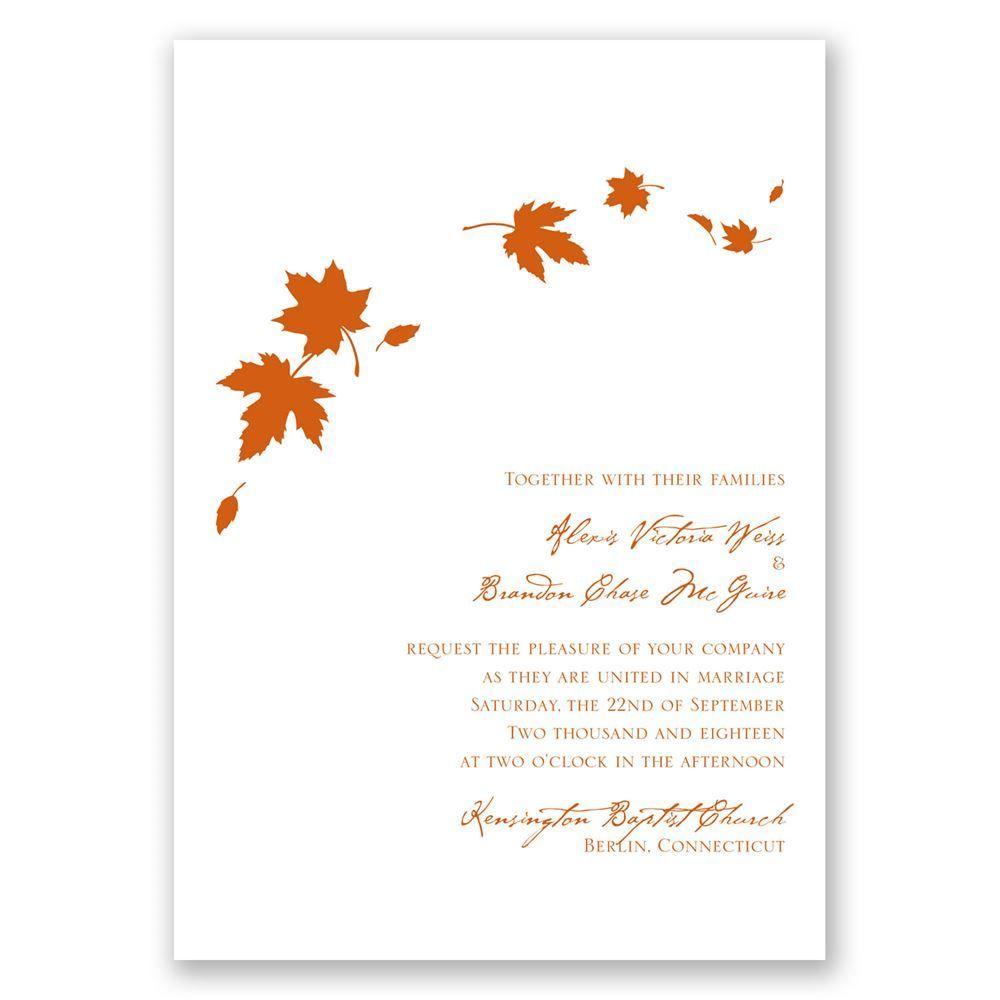 Fall Wedding Invitations Autumn Wedding Invitations Leaf |Fall Leaves Wedding Invitations