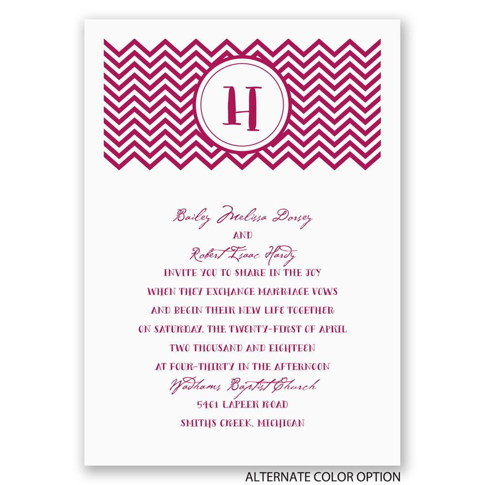 Quirky Wedding Invitation: Quirky Chevron Invitation