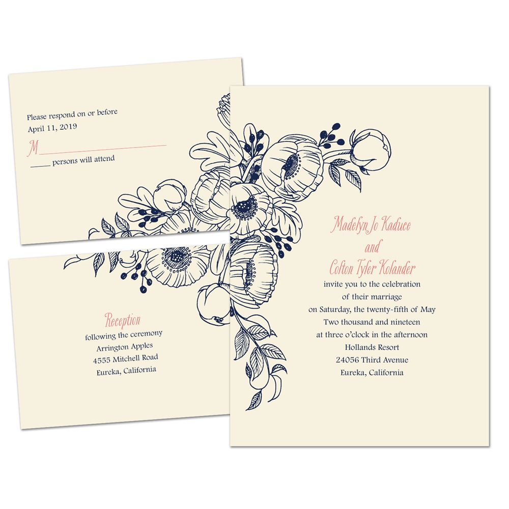 Cost Of Mailing Wedding Invitations: Penciled Posies Separate And Send Invitation