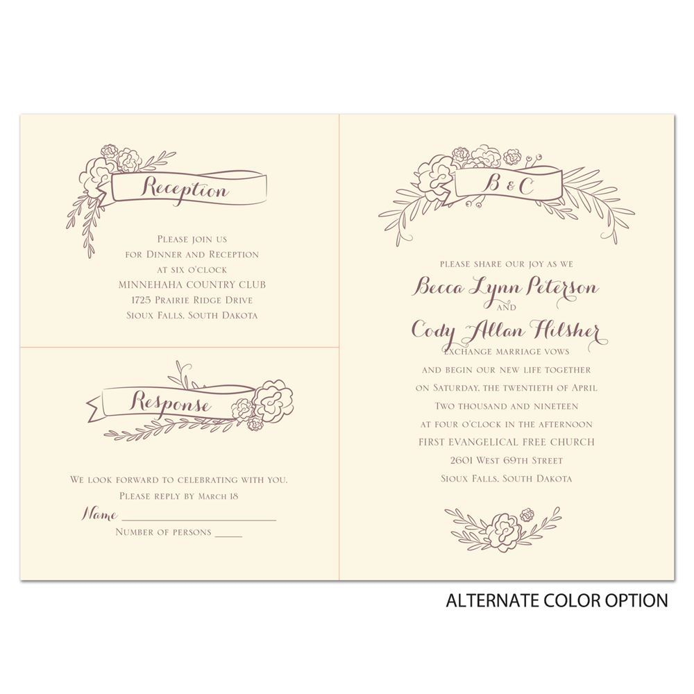 Charming Banners Separate and Send Invitation | Ann\'s Bridal Bargains