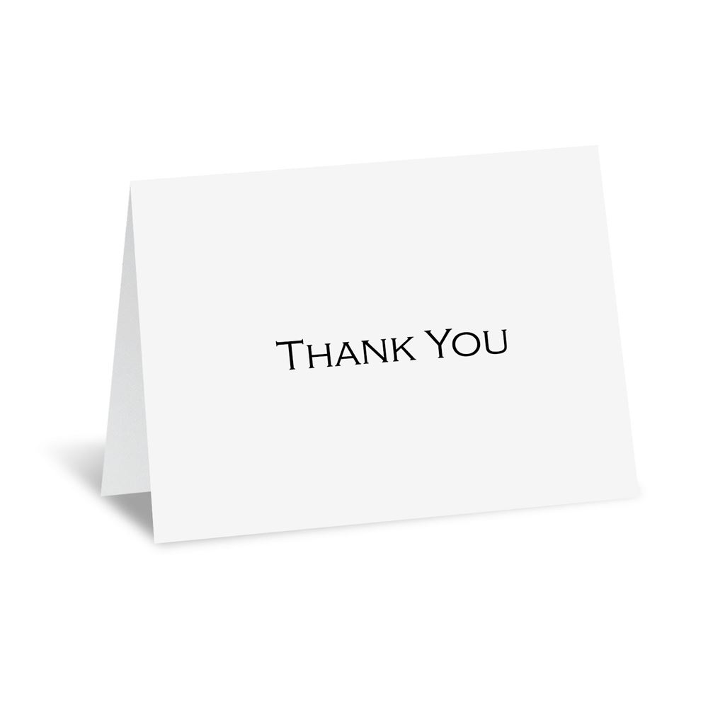 white thermography thank you card and envelope