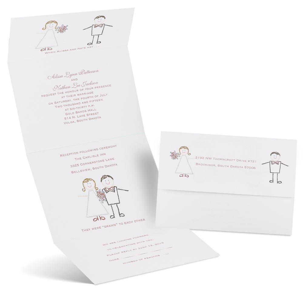 Cute Wedding Invite Wording: Cute Couple Seal And Send Invitation