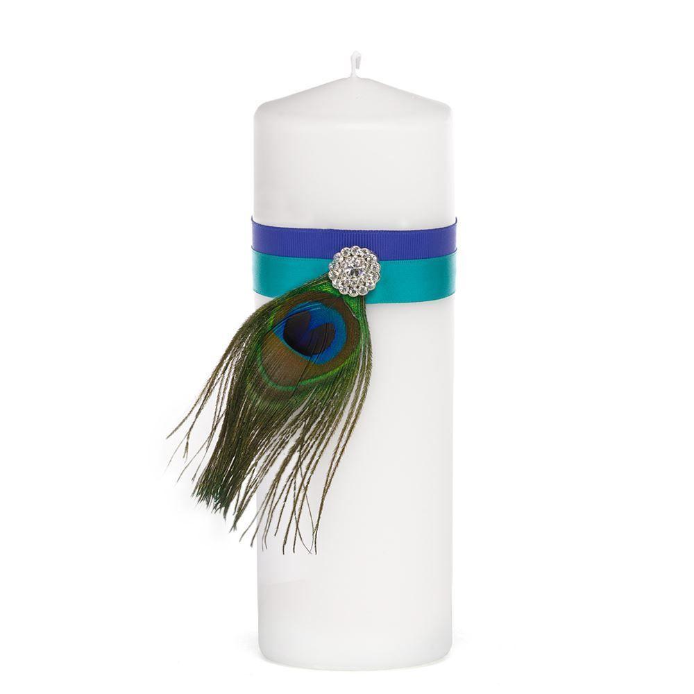 Candlelight Wedding Ceremony: Beautiful Peacock Unity Candle